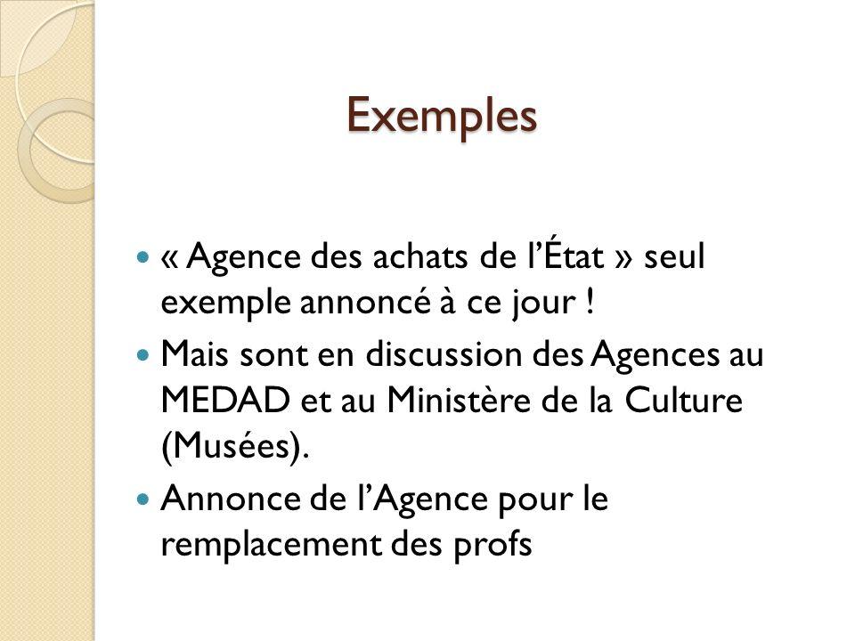 Exemples « Agence des achats de lÉtat » seul exemple annoncé à ce jour .