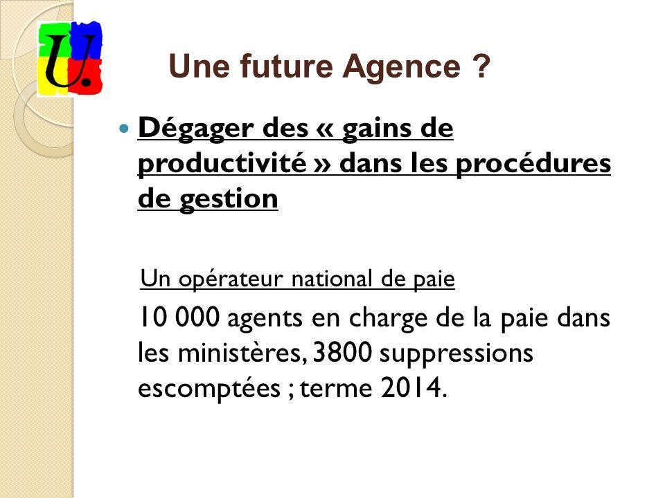 Dégager des « gains de productivité » dans les procédures de gestion Un opérateur national de paie 10 000 agents en charge de la paie dans les ministères, 3800 suppressions escomptées ; terme 2014.