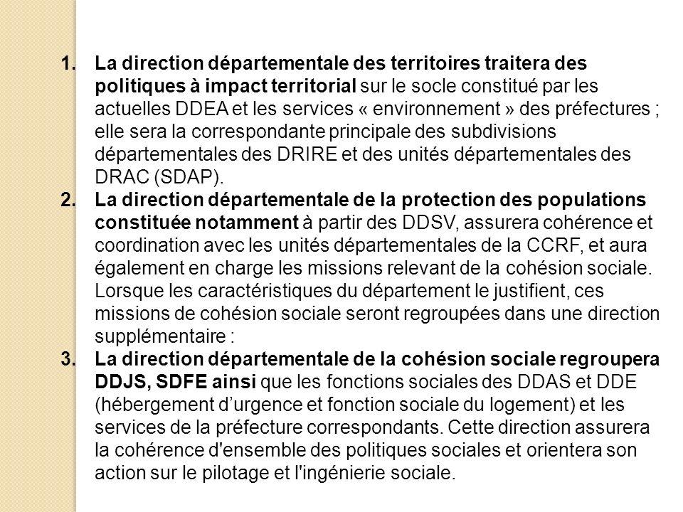 1.La direction départementale des territoires traitera des politiques à impact territorial sur le socle constitué par les actuelles DDEA et les services « environnement » des préfectures ; elle sera la correspondante principale des subdivisions départementales des DRIRE et des unités départementales des DRAC (SDAP).