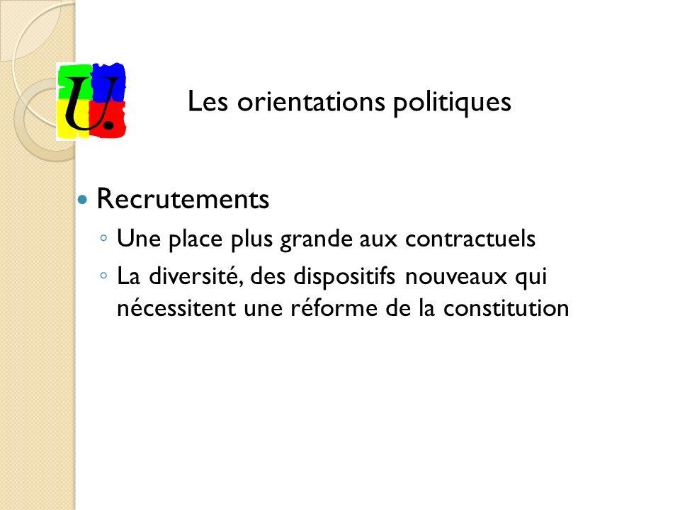 Recrutements Une place plus grande aux contractuels La diversité, des dispositifs nouveaux qui nécessitent une réforme de la constitution Les orientations politiques