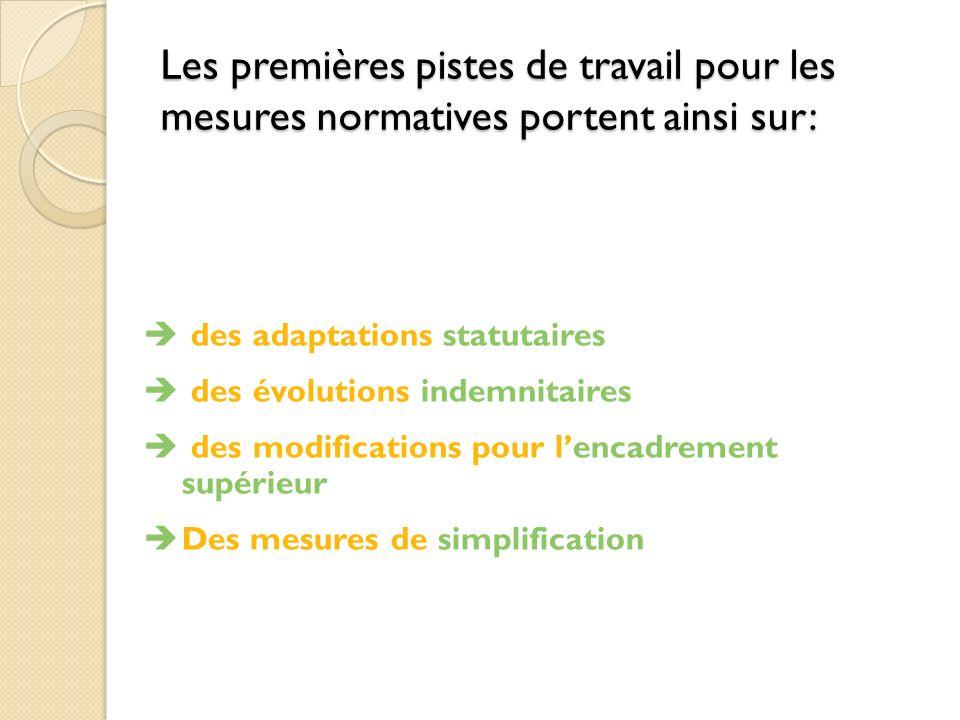 Les premières pistes de travail pour les mesures normatives portent ainsi sur: des adaptations statutaires des évolutions indemnitaires des modifications pour lencadrement supérieur Des mesures de simplification