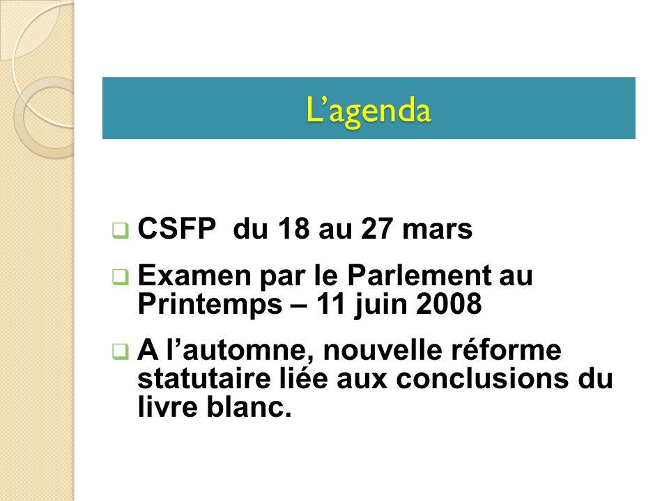CSFP du 18 au 27 mars Examen par le Parlement au Printemps – 11 juin 2008 A lautomne, nouvelle réforme statutaire liée aux conclusions du livre blanc.