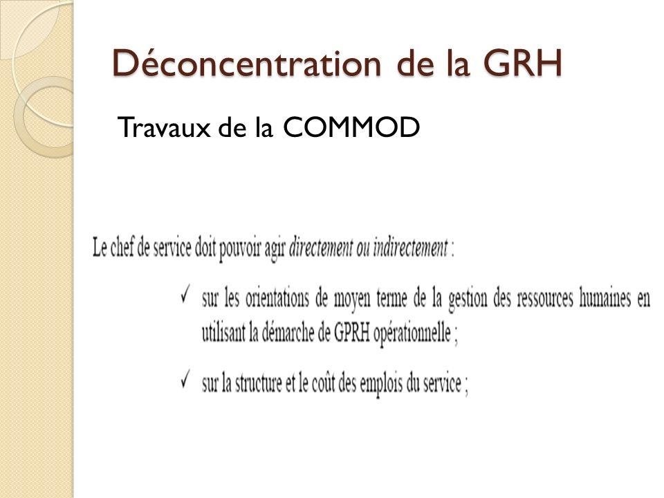 Déconcentration de la GRH Travaux de la COMMOD
