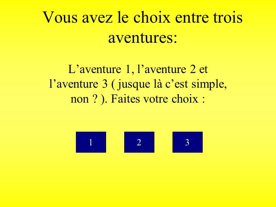 Vous avez le choix entre trois aventures: Laventure 1, laventure 2 et laventure 3 ( jusque là cest simple, non .