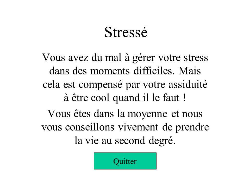Hyper stressé Vous êtes complètement stressé ! Vous avez une énergie qui se gère difficilement et lorsquil sagit de mordre, vous êtes le premier à lev