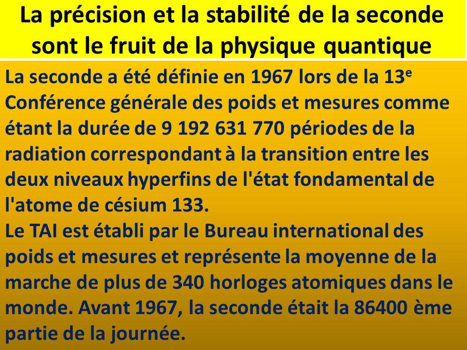 La précision et la stabilité de la seconde sont le fruit de la physique quantique La seconde a été définie en 1967 lors de la 13 e Conférence générale