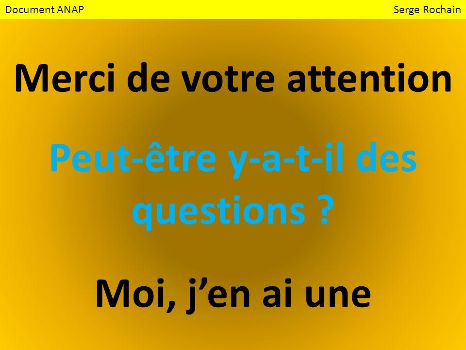 Merci de votre attention Peut-être y-a-t-il des questions ? Moi, jen ai une Document ANAP Serge Rochain
