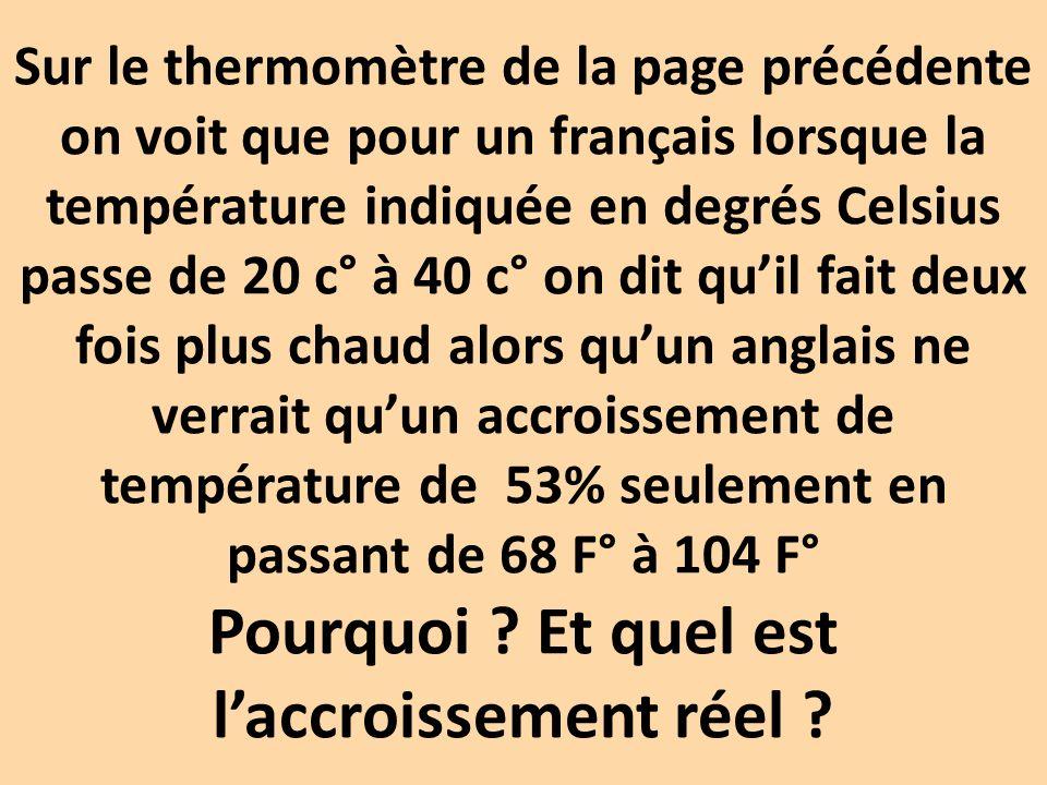 Sur le thermomètre de la page précédente on voit que pour un français lorsque la température indiquée en degrés Celsius passe de 20 c° à 40 c° on dit