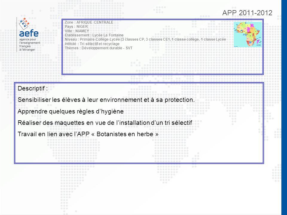 APP 2011-2012 Zone : AFRIQUE CENTRALE Pays : NIGER Ville : NIAMEY Etablissement : Lycée La Fontaine Niveau : Primaire-Collège-Lycée (3 classes CP, 3 c