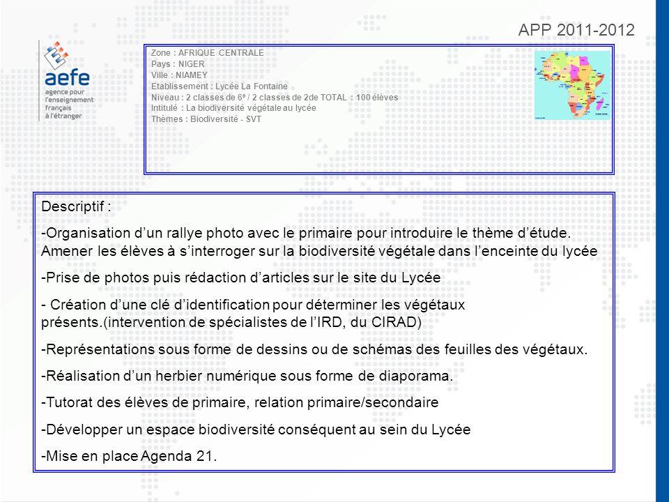 APP 2011-2012 Zone : AFRIQUE CENTRALE Pays : NIGER Ville : NIAMEY Etablissement : Lycée La Fontaine Niveau : 2 classes de 6 e / 2 classes de 2de TOTAL