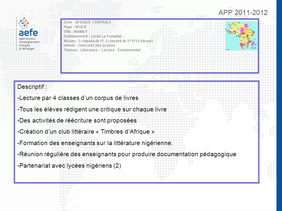 APP 2011-2012 Zone : AFRIQUE CENTRALE Pays : NIGER Ville : NIAMEY Etablissement : Lycée La Fontaine Niveau : 3 classes de 5 e, 2 classes de 1 re (115