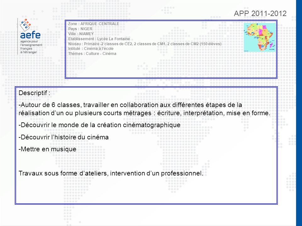 APP 2011-2012 Zone : AFRIQUE CENTRALE Pays : NIGER Ville : NIAMEY Etablissement : Lycée La Fontaine Niveau : Primaire -2 classes de CE2, 2 classes de