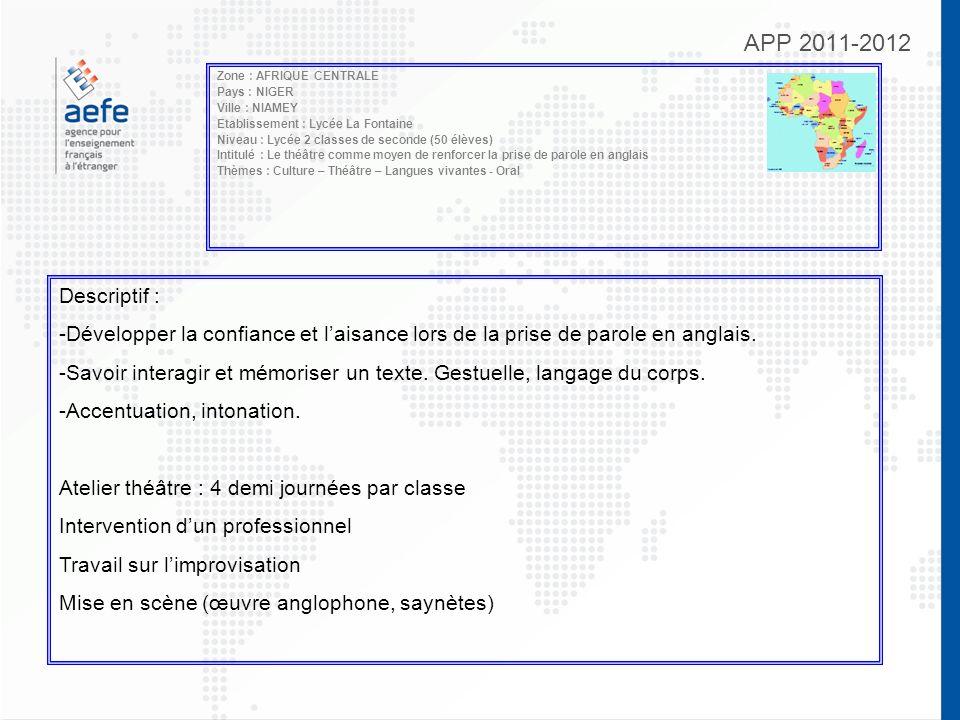 APP 2011-2012 Zone : AFRIQUE CENTRALE Pays : NIGER Ville : NIAMEY Etablissement : Lycée La Fontaine Niveau : Lycée 2 classes de seconde (50 élèves) In