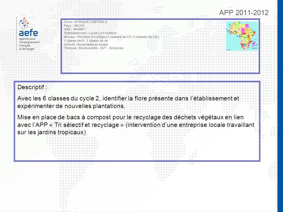 APP 2011-2012 Zone : AFRIQUE CENTRALE Pays : NIGER Ville : NIAMEY Etablissement : Lycée La Fontaine Niveau : Primaire et collège (3 classes de CP, 3 c