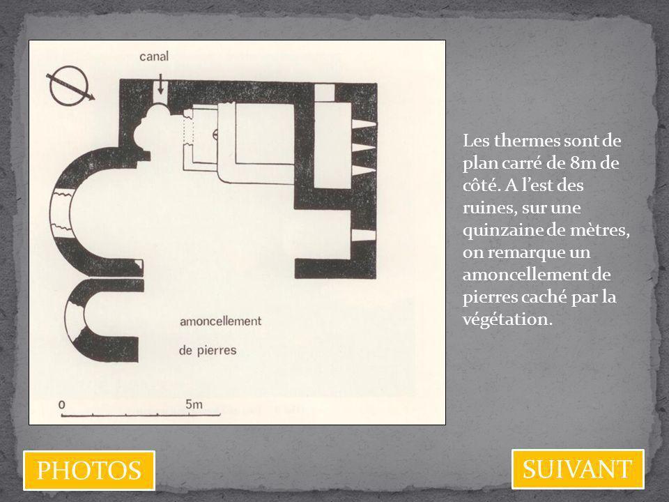 Les thermes sont de plan carré de 8m de côté. A lest des ruines, sur une quinzaine de mètres, on remarque un amoncellement de pierres caché par la vég