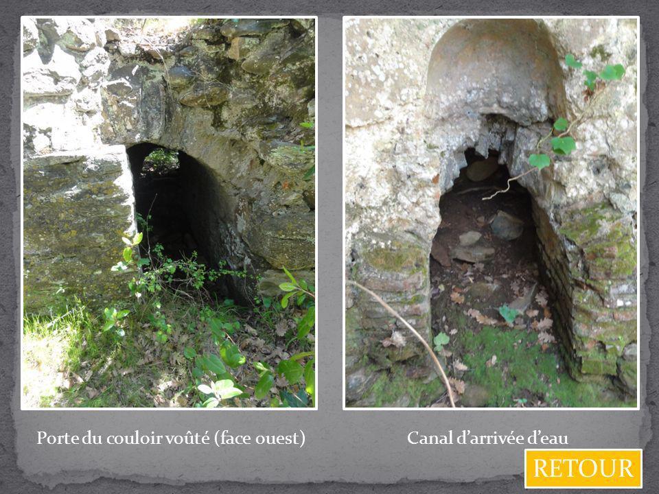 Porte du couloir voûté (face ouest)Canal darrivée deau RETOUR