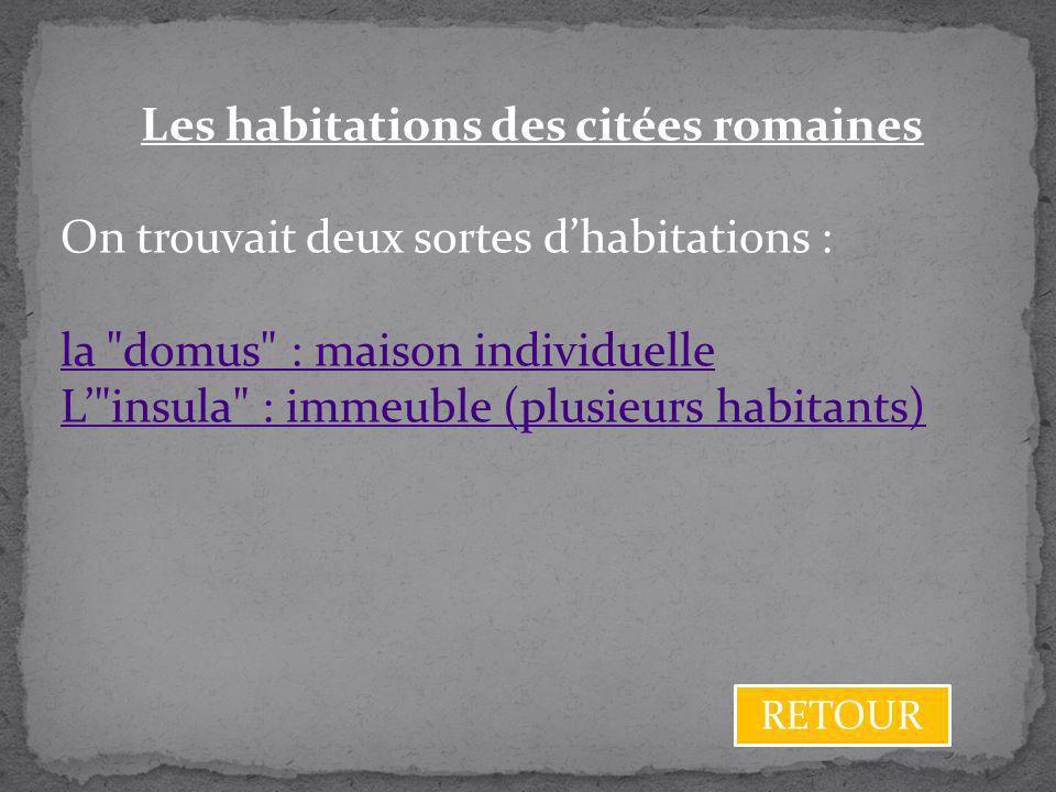 Les habitations des citées romaines On trouvait deux sortes dhabitations : la