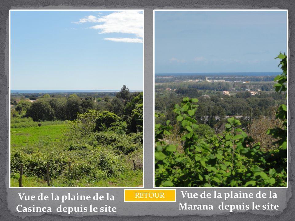 Vue de la plaine de la Casinca depuis le site Vue de la plaine de la Marana depuis le site RETOUR