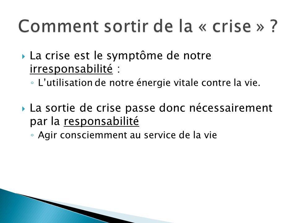 La crise est le symptôme de notre irresponsabilité : Lutilisation de notre énergie vitale contre la vie. La sortie de crise passe donc nécessairement