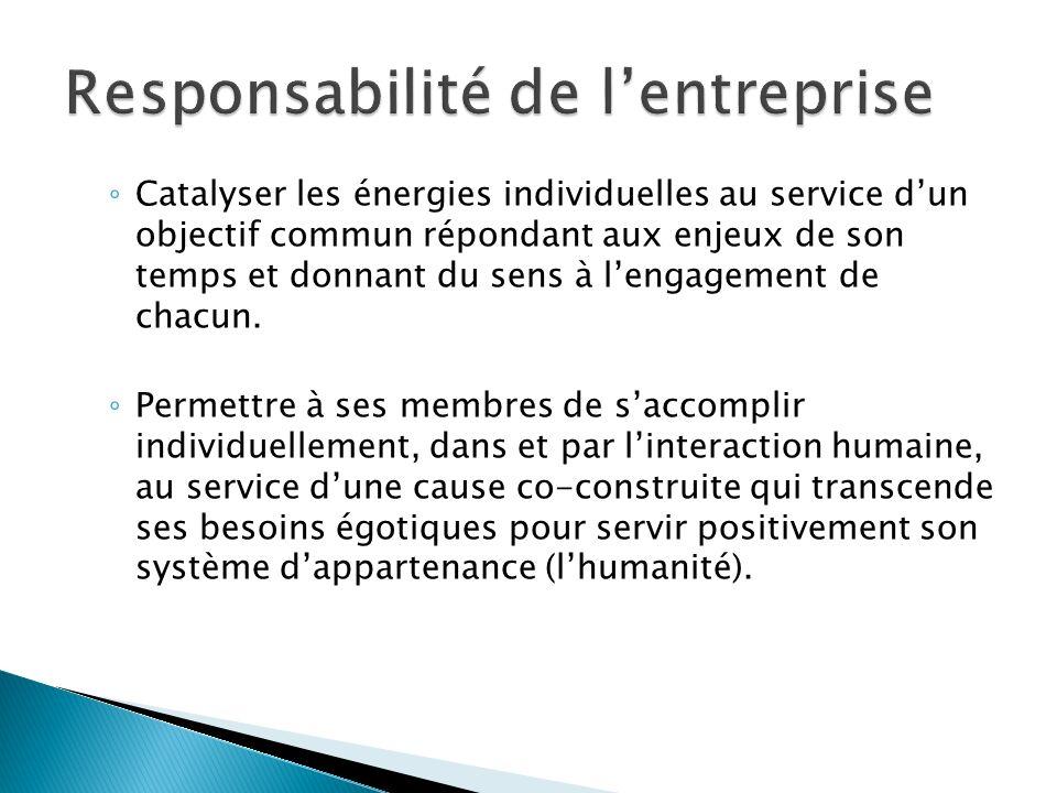 Catalyser les énergies individuelles au service dun objectif commun répondant aux enjeux de son temps et donnant du sens à lengagement de chacun.