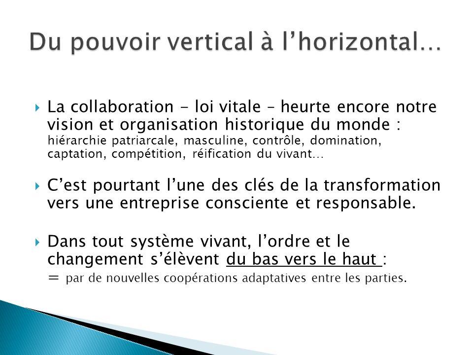 La collaboration - loi vitale – heurte encore notre vision et organisation historique du monde : hiérarchie patriarcale, masculine, contrôle, dominati