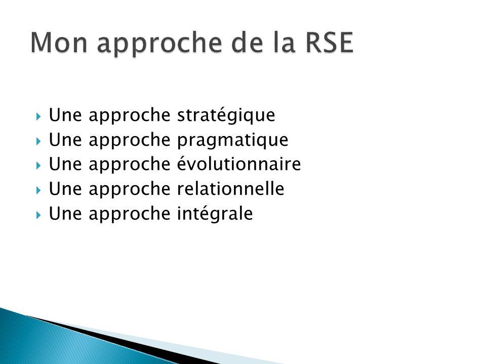 Une approche stratégique Une approche pragmatique Une approche évolutionnaire Une approche relationnelle Une approche intégrale