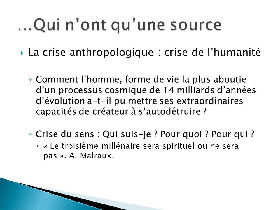 La crise anthropologique : crise de lhumanité Comment lhomme, forme de vie la plus aboutie dun processus cosmique de 14 milliards dannées dévolution a