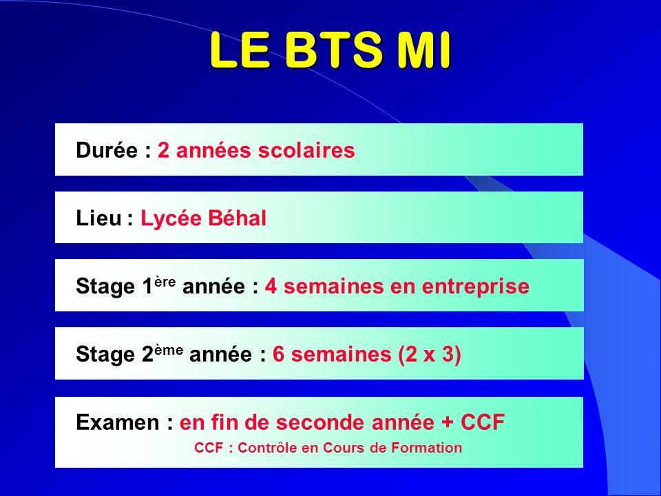 LE BTS MI Durée : 2 années scolaires Lieu : Lycée Béhal Stage 1 ère année : 4 semaines en entreprise Stage 2 ème année : 6 semaines (2 x 3) Examen : e