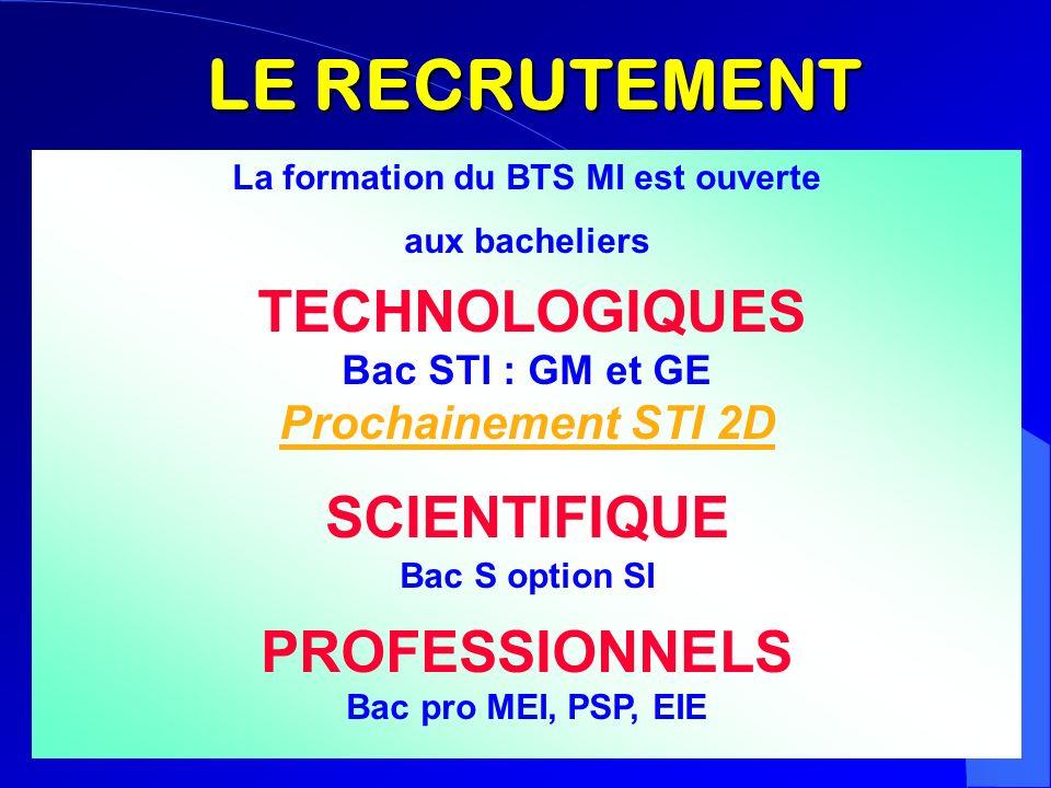 LE RECRUTEMENT La formation du BTS MI est ouverte aux bacheliers TECHNOLOGIQUES Bac STI : GM et GE Prochainement STI 2D SCIENTIFIQUE Bac S option SI P