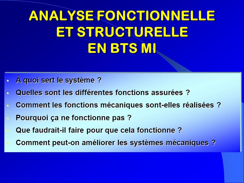 ANALYSE FONCTIONNELLE ET STRUCTURELLE EN BTS MI À quoi sert le système ? À quoi sert le système ? Quelles sont les différentes fonctions assurées ? Qu