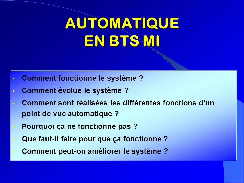 AUTOMATIQUE EN BTS MI Comment fonctionne le système ? Comment évolue le système ? Comment sont réalisées les différentes fonctions dun point de vue au