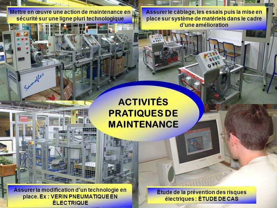 ACTIVITÉS PRATIQUES DE MAINTENANCE Étude de la prévention des risques électriques : ÉTUDE DE CAS Assurer la modification dun technologie en place. Ex