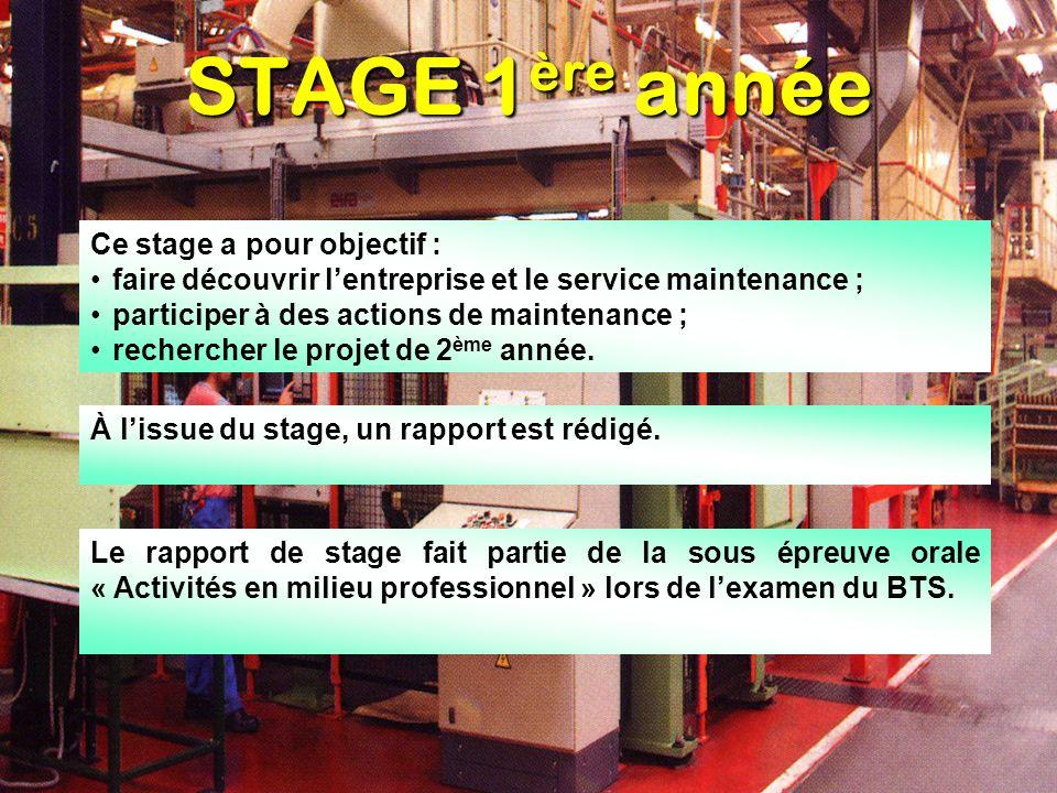 STAGE 1 ère année Ce stage a pour objectif : faire découvrir lentreprise et le service maintenance ; participer à des actions de maintenance ; recherc