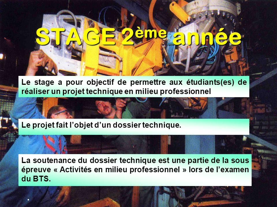 STAGE 2 ème année. Le projet fait lobjet dun dossier technique. Le stage a pour objectif de permettre aux étudiants(es) de réaliser un projet techniqu