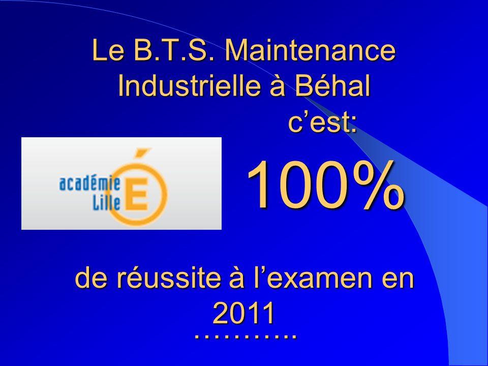 Le B.T.S. Maintenance Industrielle à Béhal cest: 100% de réussite à lexamen en 2011 ………..