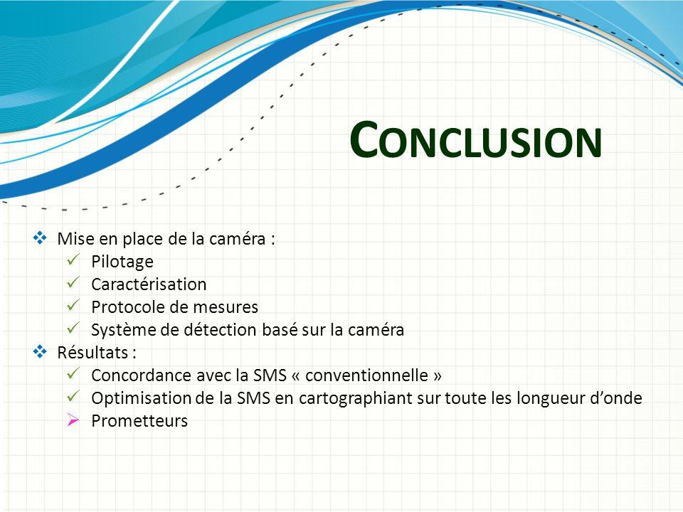 C ONCLUSION Mise en place de la caméra : Pilotage Caractérisation Protocole de mesures Système de détection basé sur la caméra Résultats : Concordance