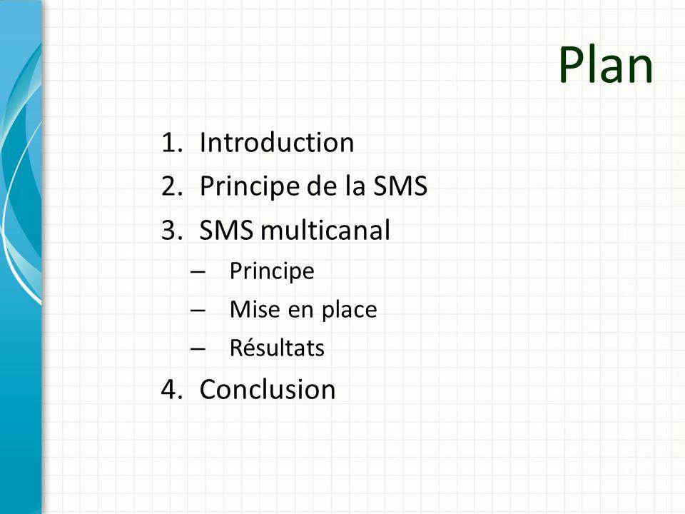 Plan 1.Introduction 2.Principe de la SMS 3.SMS multicanal – Principe – Mise en place – Résultats 4.Conclusion