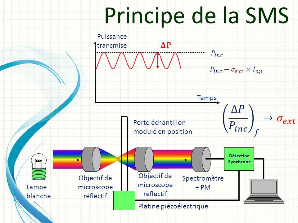Principe de la SMS Détection Synchrone Lampe blanche Objectif de microscope réflectif Objectif de microscope réflectif Spectromètre + PM Platine piézo