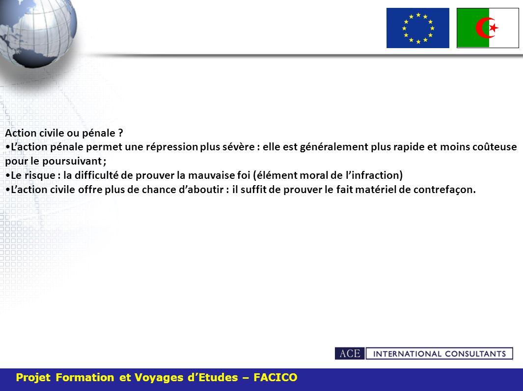 Projet Formation et Voyages dEtudes – FACICO Action civile ou pénale .