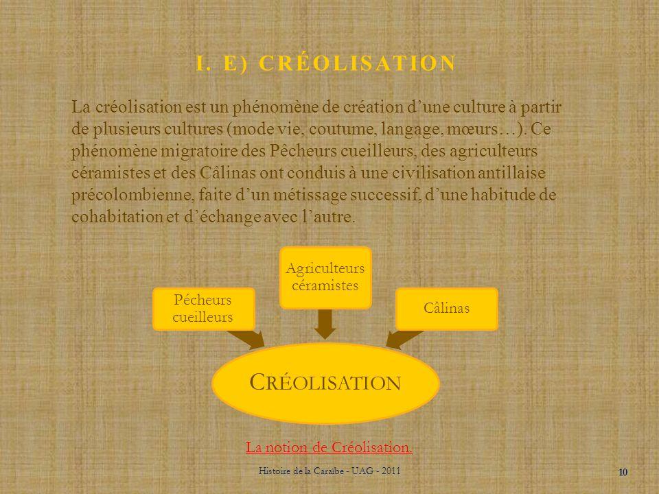 I. D) LES CÂLINAS Histoire de la Caraïbe - UAG - 2011 9 La dernière implantation avant l'arrivée de Christophe Colomb sont les Câlinas ou Caraïbes. Il
