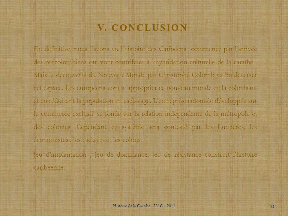 Histoire de la Caraïbe - UAG - 2011 20 Révolte: Marronnage Abolition de lesclavage en 1794 Indépendance dHaïti Rétablissement de lesclavage par Napolé