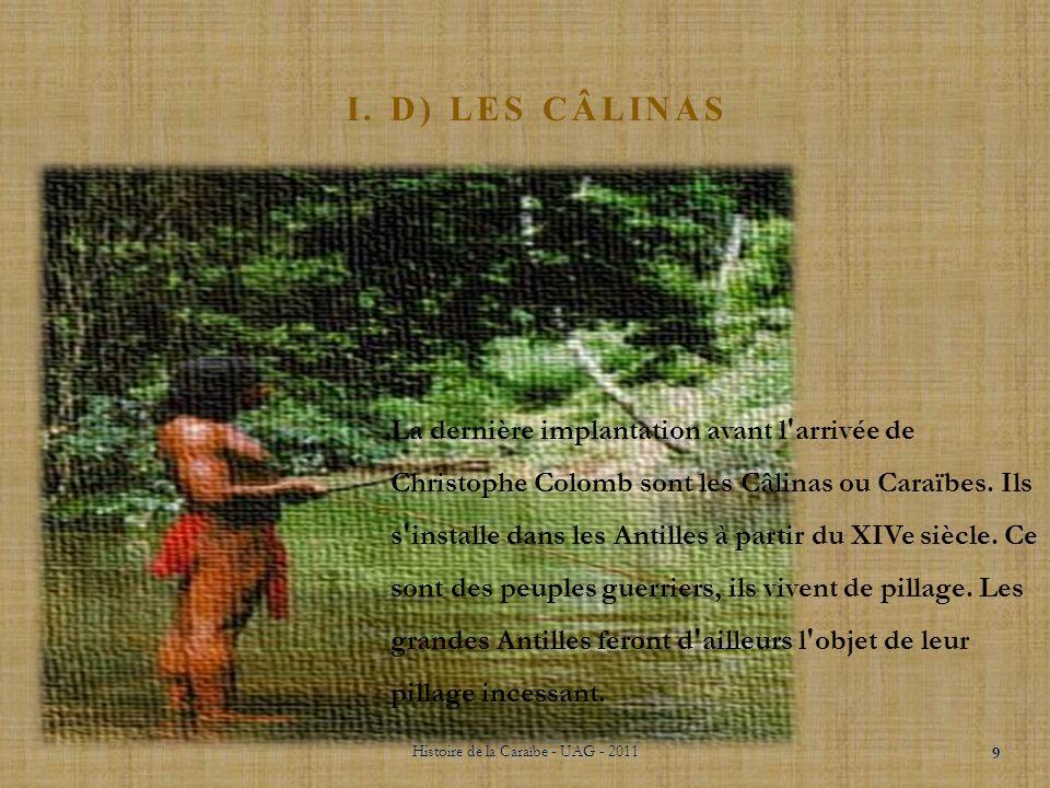 I. C) LA CULTURE CARIBÉENNE Histoire de la Caraïbe - UAG - 2011 8 A partir de la un véritable échange se crée à l'intérieur des îles et entre les îles