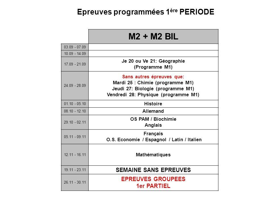 Epreuves programmées 1 ère PERIODE M2 + M2 BIL 03.09 - 07.09 10.09 - 14.09 17.09 - 21.09 Je 20 ou Ve 21: Géographie (Programme M1) 24.09 - 28.09 Sans