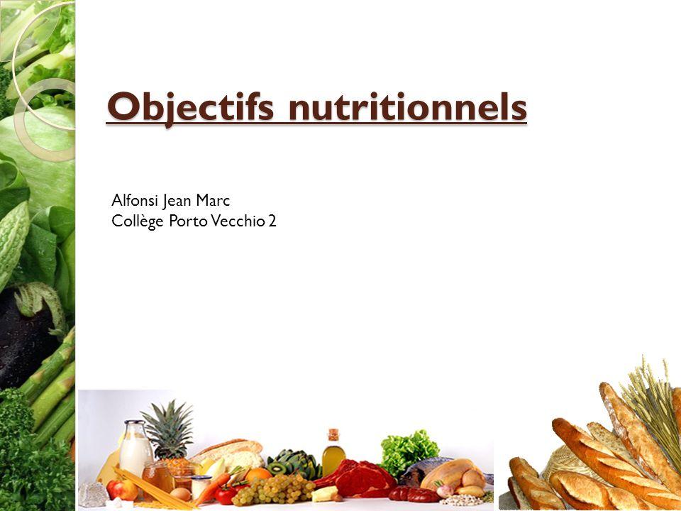 Objectifs nutritionnels Alfonsi Jean Marc Collège Porto Vecchio 2