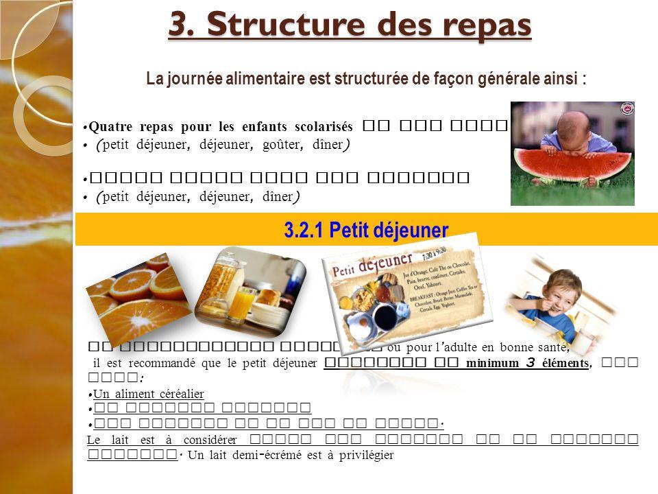 3. Structure des repas 3. Structure des repas La journée alimentaire est structurée de façon générale ainsi : Quatre repas pour les enfants scolarisés