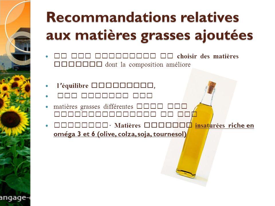Il est judicieux de choisir des matières grasses dont la composition améliore l équilibre lipidique, par exemple des matières grasses différentes pour