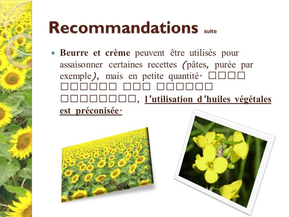 Recommandations suite Beurre et crème peuvent être utilisés pour assaisonner certaines recettes ( pâtes, purée par exemple ), mais en petite quantité.