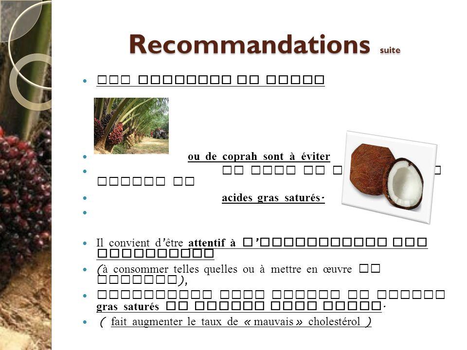 Recommandations suite Les graisses de palme ou de coprah sont à éviter du fait de leur forte teneur en acides gras saturés. Il convient d être attenti