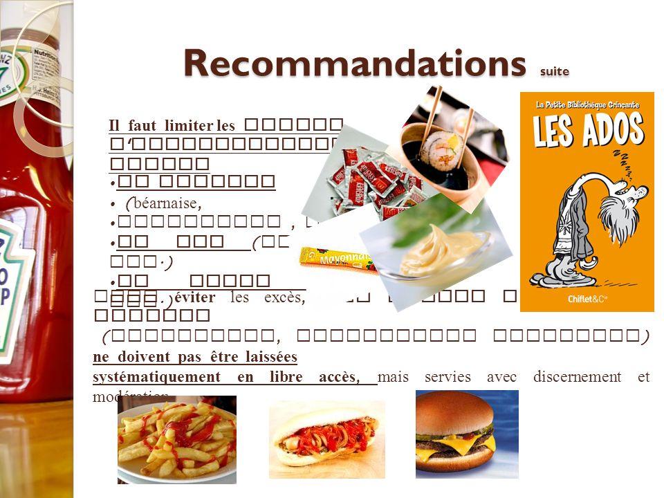 Recommandations suite Pour éviter les excès, les sauces riches en lipides ( mayonnaise, vinaigrette notamment ) ne doivent pas être laissées systémati