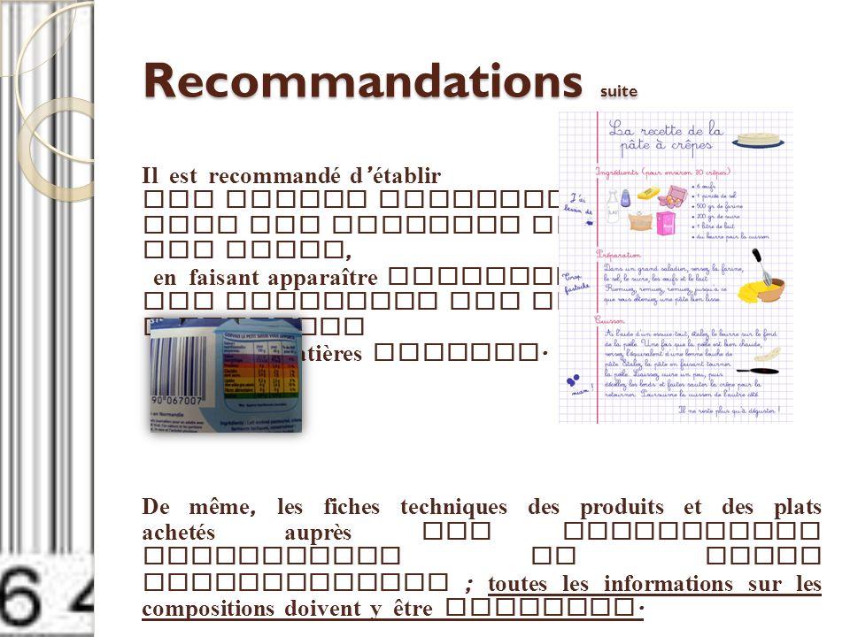 Recommandations suite Il est recommandé d établir des fiches techniques pour les recettes composant les menus, en faisant apparaître notamment les gra